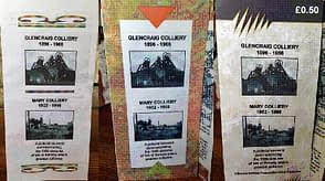 GLENCRAIG AND MARY COLLIERIES TRIFOLD BROCHURE Features: Glencraig Nos. 1, 2 pits' Mary Nos. 1,2 pits; William Telfer, Wilsons & Clyde Coal Company; Charles Carlow, Fife Coal Company; pits in the Benarty area; site of Glencraig Colliery; Mary No. 1 pit; map of pit locations; Glencraig House; The Happy Lands film; checks from the Mary and Glencraig pits; Chapel Farm and the burning bing; Clune Terrace and the Glencraig Colliery bings; Glencraig village; the monuments at Lochore Meadows Park; end of mining image.